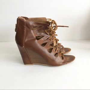 Shoes - 5/25 Cognac open toe laced wedge heels